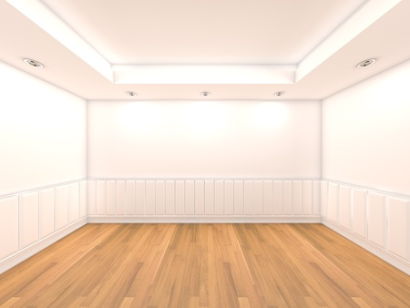 Home interior rendering with empty room color wall and decorated with wooden floors   Stock Photo