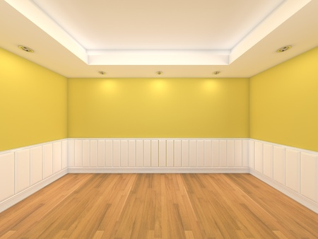 living room wall: Home interior rendering with empty room color wall and decorated with wooden floors   Stock Photo