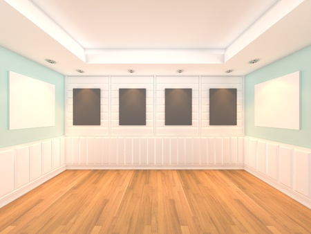 Empty room blue wall interior room with decorate wood wall and wood floor with frame gallery  Foto de archivo