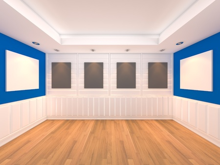 Empty room blue wall interior room with decorate wood wall and wood floor with frames gallery  photo