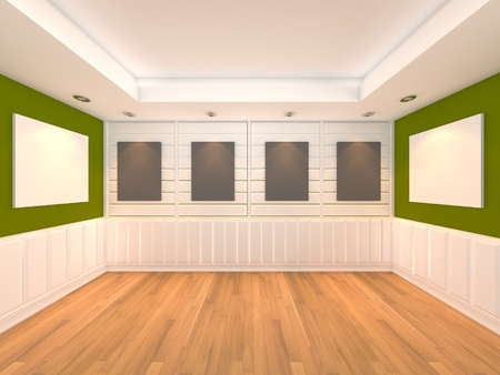 Empty room green wall interior room with decorate wood wall and wood floor with frame gallery  Stock Photo - 13135174