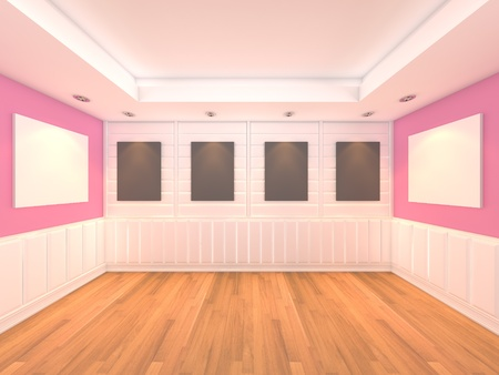 Empty room pink wall interior room with decorate wood wall and wood floor with frame gallery  photo