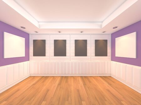 Empty room purple wall inter room with decorate wood wall and wood floor with frame gallery  Stock Photo - 13135173