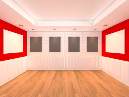 Empty room red wall interior room with decorate wood wall and wood floor with frame gallery  photo