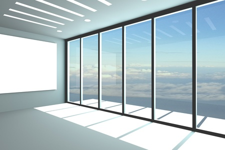 Office interior rendering with empty room color wall and decorated glass door with blue sky.