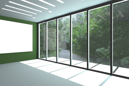 Office interior rendering with empty room color wall and decorated glass door with wildlife.