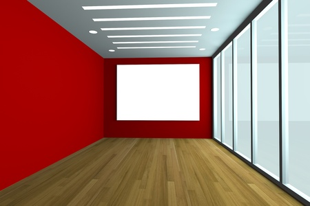 Office inter rendering with empty room color wall and decorated glass door with wood floor  Stock Photo - 13389289