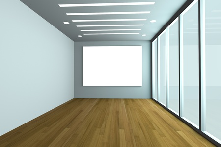 Office interior rendering with empty room color wall and decorated glass door with wood floor  photo