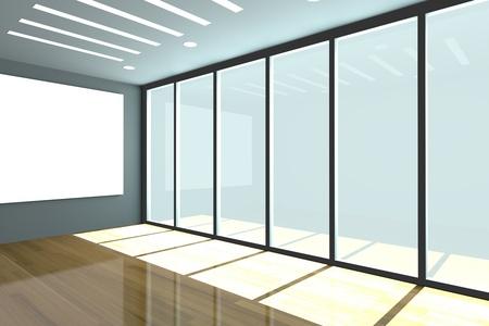 사무실 내부는 나무 바닥 빈 방 색 벽과 장식 유리 도어 렌더링 스톡 사진