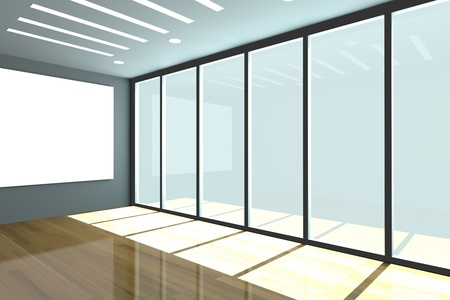 Office interior rendering with empty room color wall and decorated glass door with wood floor