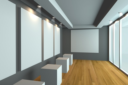 Empty room interior with white canvas on a gray wall in the gallery  Stock Photo