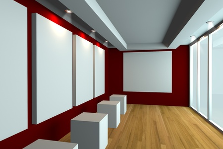 Empty room interior with white canvas on a red wall in the gallery  photo