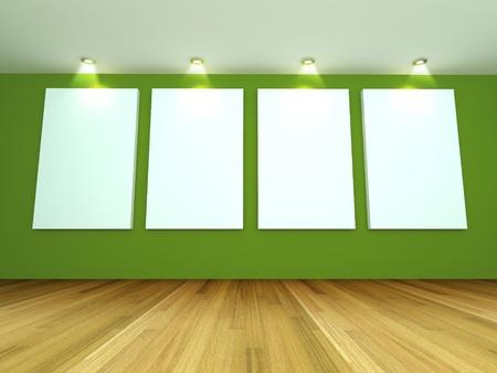 Interior de la habitaci�n vac�a con el lienzo en blanco sobre una pared verde en la galer�a