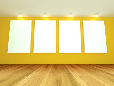 Empty room interior with white canvas on a yellow wall in the gallery  photo