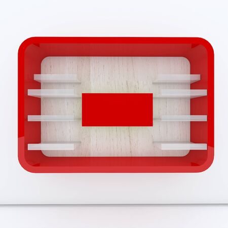 Red shelf design with white wall photo