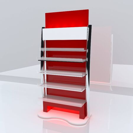 Red shelf design with white background Stock Photo - 13520897