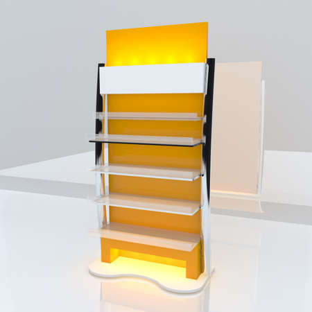 Yellow shelf design with white background  photo