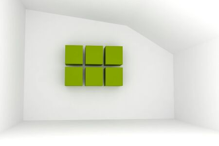 Empty room with blank green box for interior background Stock Photo - 13520903