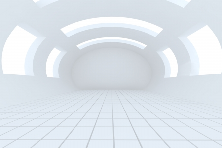 Abstract white empty room with structure curve Stock Photo