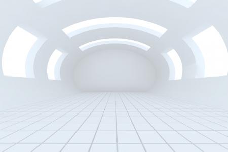 Resumen habitaci�n blanca y vac�a con la curva de la estructura Foto de archivo