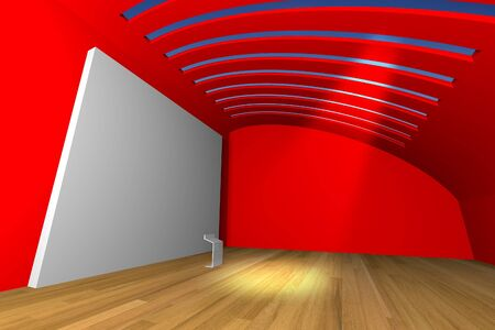 Empty room interior with big white canvas on a red wall in the gallery  photo