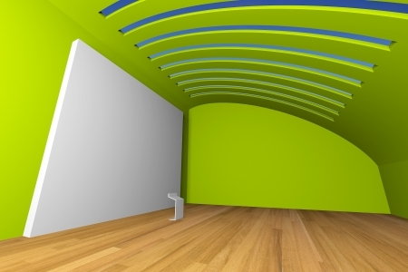 Empty room inter with big white canvas on a green wall in the gallery  Stock Photo - 13608654