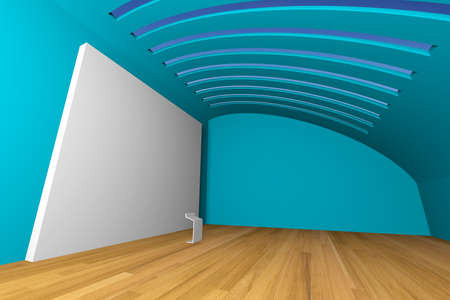 Empty room interior with big white canvas on a blue wall in the gallery  photo