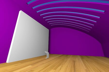 Empty room interior with big white canvas on a violet wall in the gallery  photo