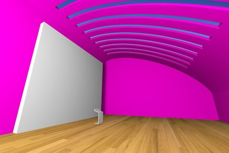 Empty room interior with big white canvas on a pink wall in the gallery  photo