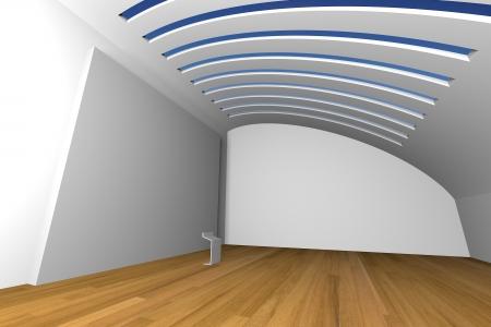 Interior de la habitaci�n vac�a con gran lienzo blanco sobre una pared blanca en la galer�a