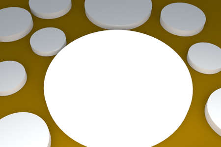 selling off: 3d blank abstract white button with yellow background
