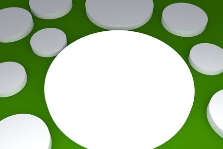 3d blank abstract white button with green background  photo