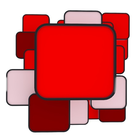 3D blank abstract  red box display new design aluminum frame template for design work photo