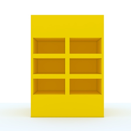 Color yellow shelf design with white wall photo