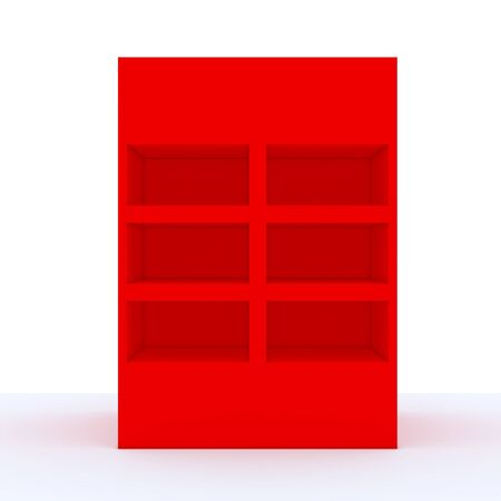 Color red shelf design with white wall Stock Photo - 13704624