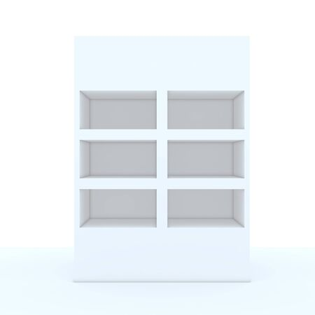 Color white shelf design with white wall photo