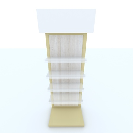 Color yellow shelf design on white background. photo