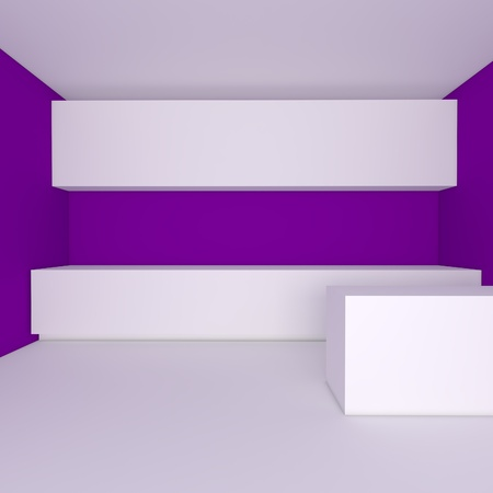 empty interior design for kitchen room with purple wall Stock Photo - 13762675