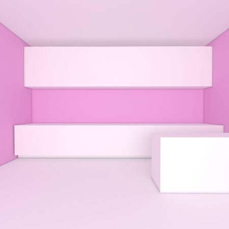 empty interior design for kitchen room with pink wall Stock Photo - 13762673