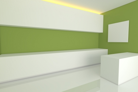 empty interior design for kitchen room with green wall  photo