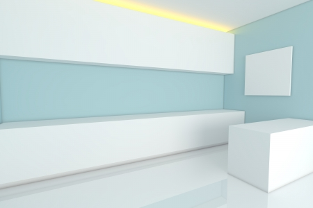 empty interior design for kitchen room with blue wall  photo