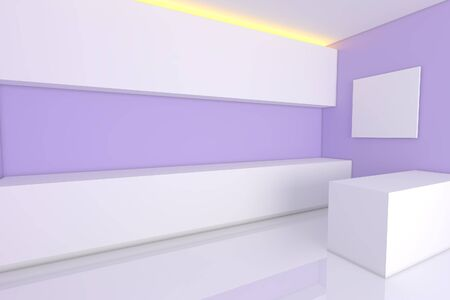 empty interior design for kitchen room with purple wall  photo