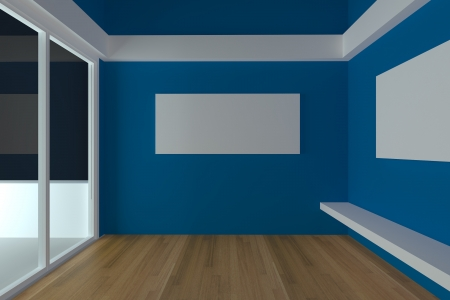 Home interior rendering with empty room color blue wall and decorated with wood floors   photo