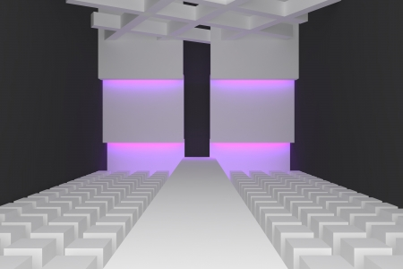 Empty fashion runway purple color lighting and black wall  photo