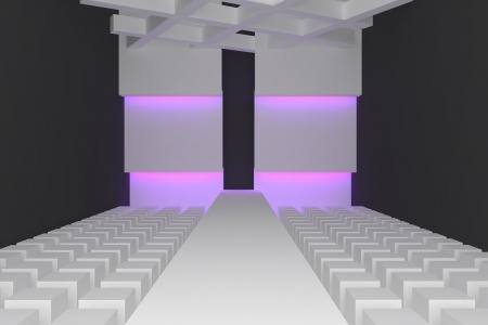 Empty fashion runway purple color lighting and black wall  photo