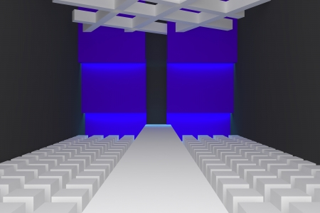 Empty fashion runway purple color lighting and blue wall  photo