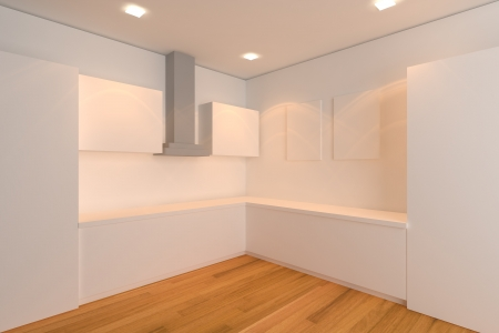empty interior design for kitchen room with white wall  photo