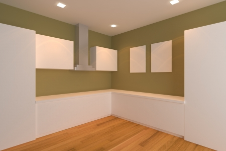 empty interior design for kitchen room with brown wall  photo