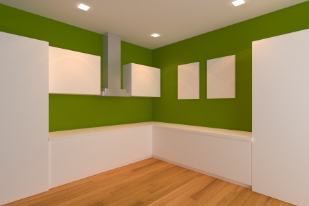 empty interior design for kitchen room with green wall  Stock Photo - 14019736