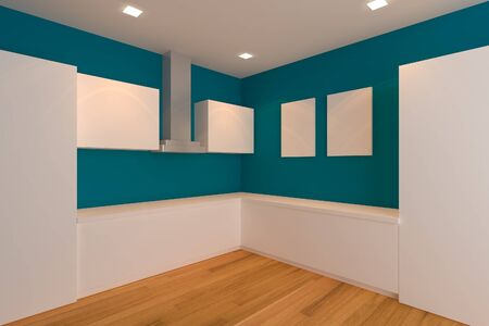 empty inter design for kitchen room with blue wall  Stock Photo - 14019737
